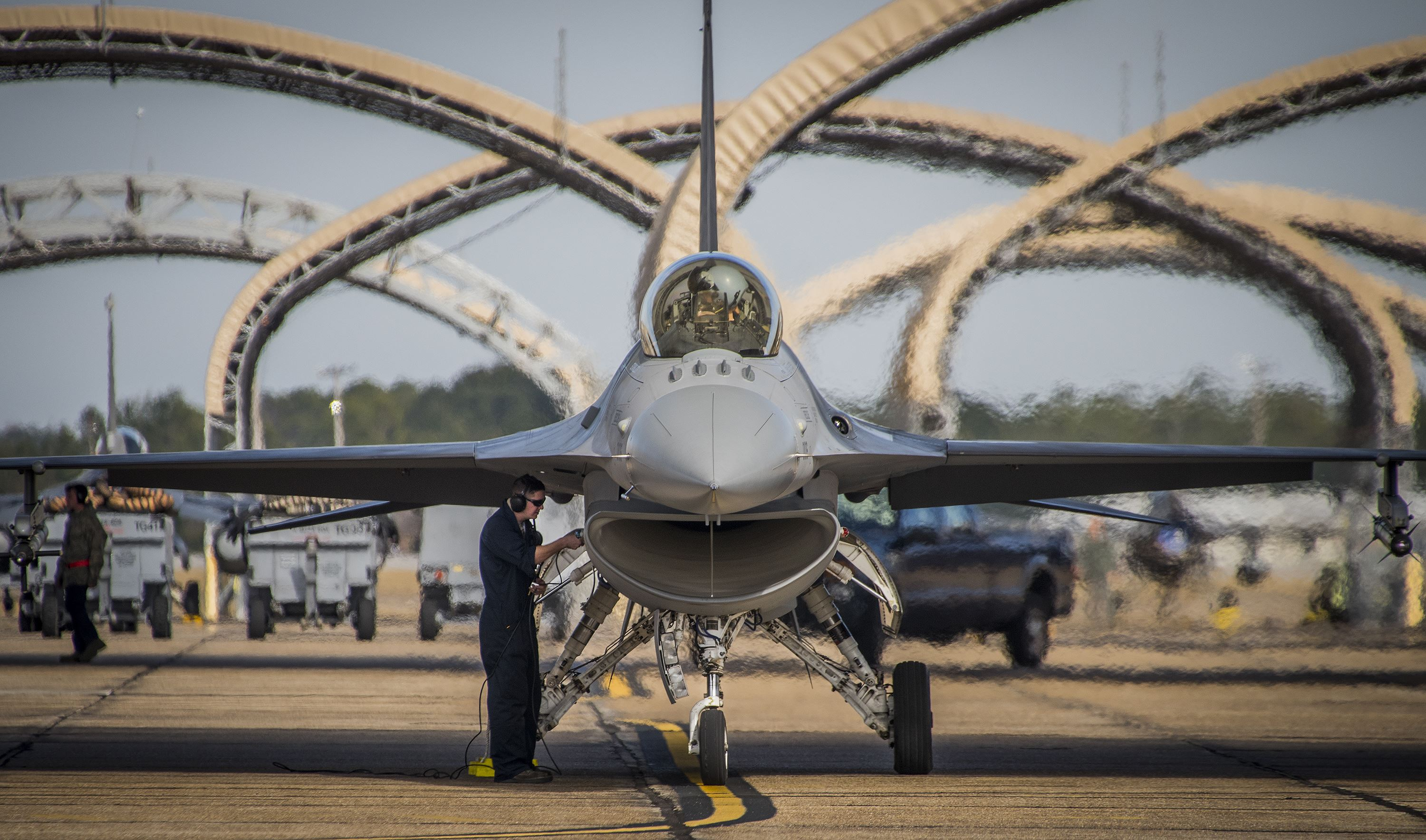 US Air Force fighter jet under maintenance.